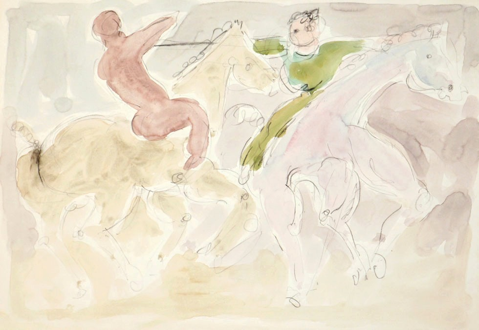 Oscar Barblan, Duello, Water-colour on paper, 35 x 50 cm, 1978