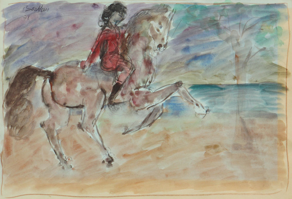 Oscar Barblan, Cavaliere solitario, Water-colour on paper, 35 x 50 cm, 1978
