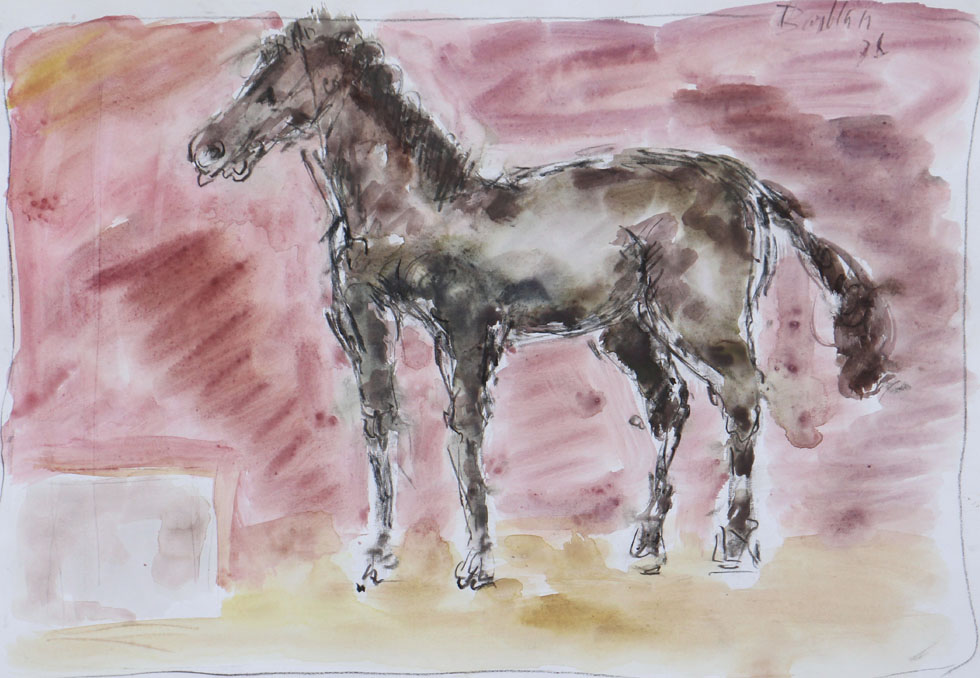 Oscar Barblan, Cavallo, Water-colour on paper, 35 x 50 cm, 1978
