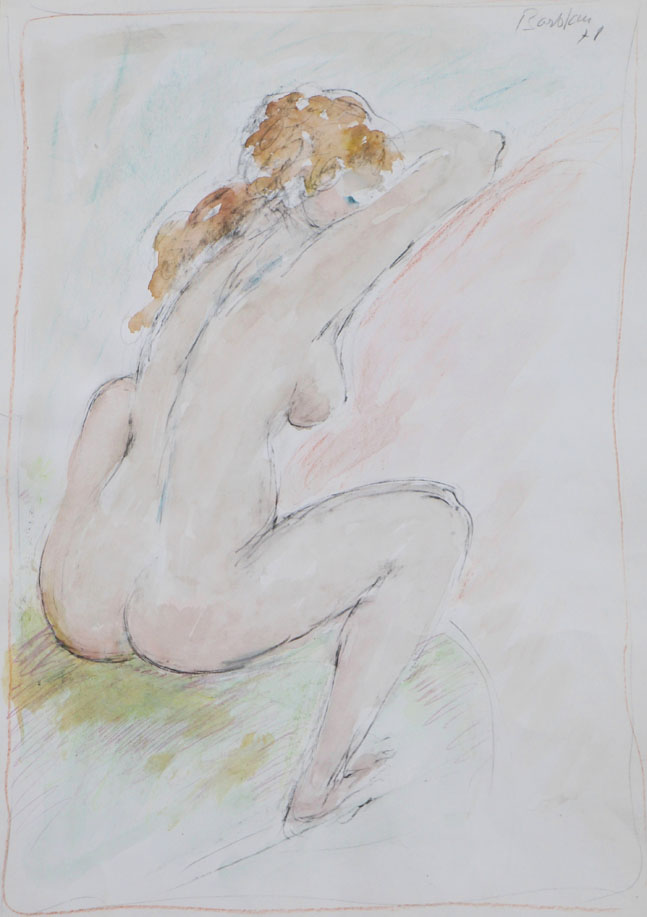 Oscar Barblan, Nudo di dorso, Water-colour   on paper, 50 x 35 cm, 1978