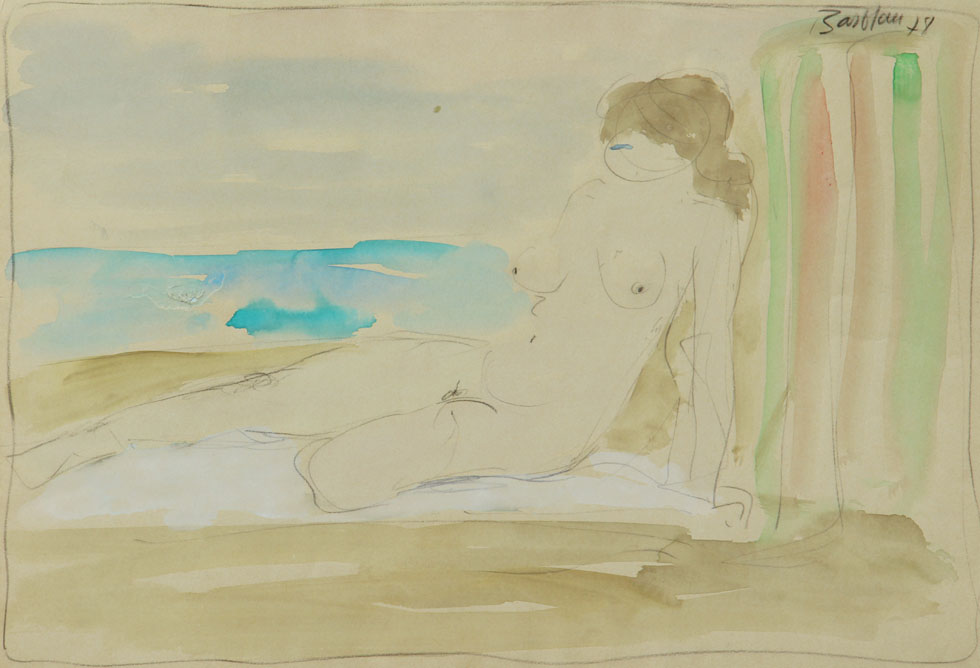 Oscar Barblan, Nudo in spiaggia, Water-colour on paper, 35 x 50 cm, 1978