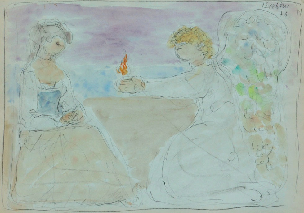 Oscar Barblan, Annunciazione, Water-colour on paper, 35 x 50 cm, 1978