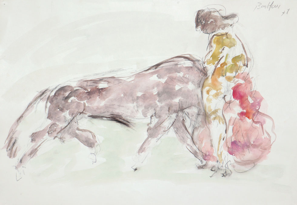 Oscar Barblan, Corrida, Water-colour on paper, 35 x 50 cm, 1978