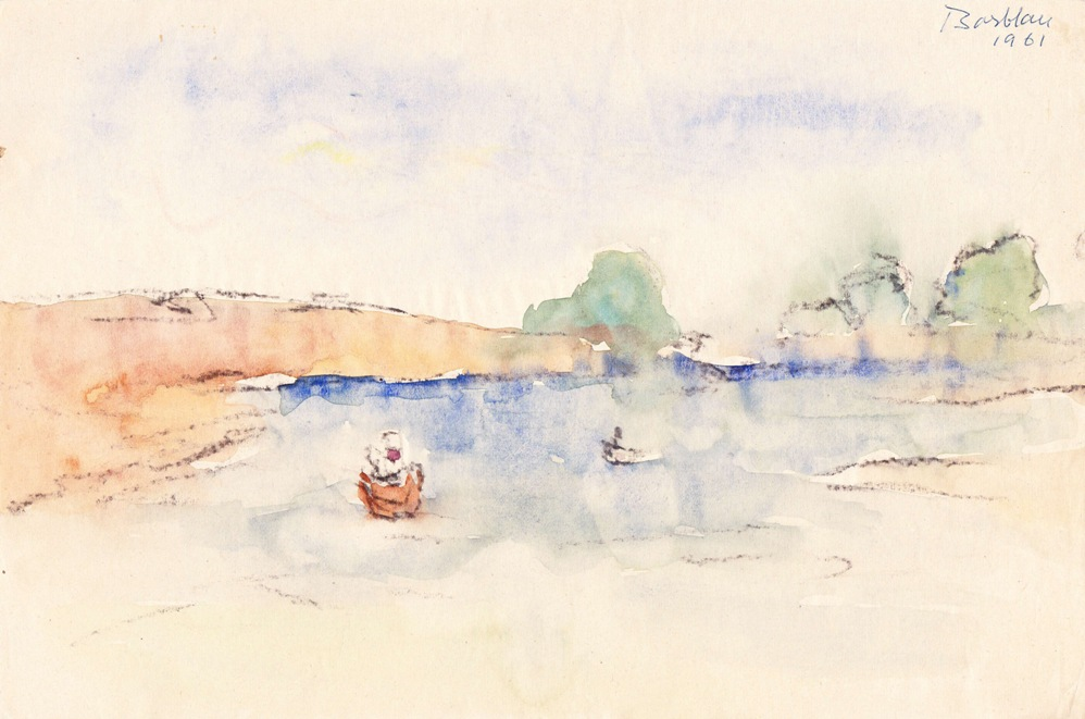 Oscar Barblan, Marina a Torquai, Water-colour on paper, 20 x 29 cm, 1961