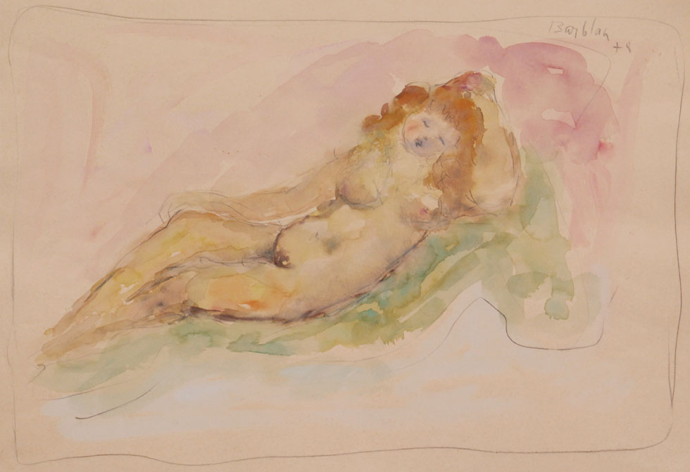 Oscar Barblan, Il sogno, Water-colour on paper, 35 x 50 cm, 1978
