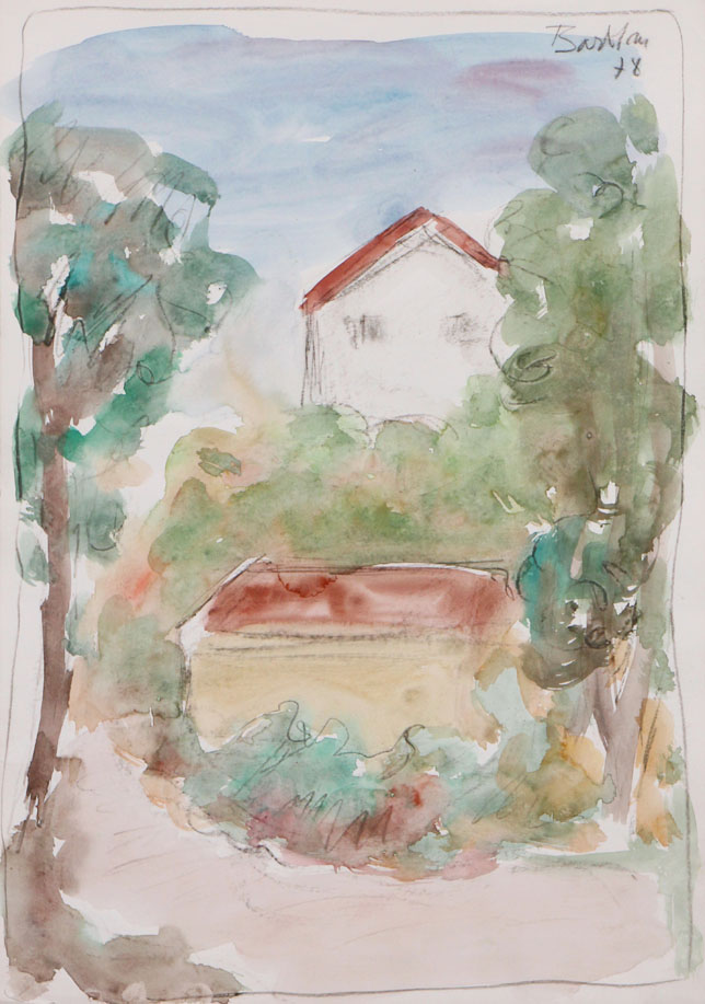 Oscar Barblan, Paesaggio, Water-colour on paper, 50 x 35 cm, 1978