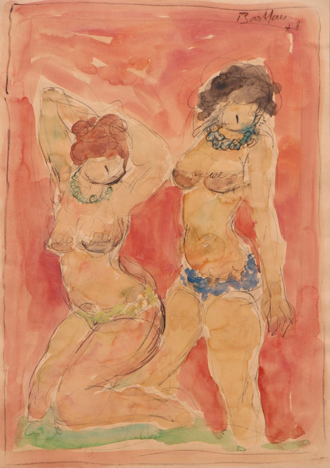 Oscar Barblan, Intimità, Water-colour on paper, 50 x 35 cm, 1978