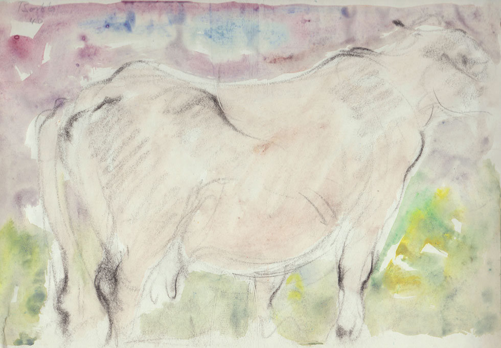 Oscar Barblan, Bove, Water-colour on paper, 21 x 31 cm, 1940
