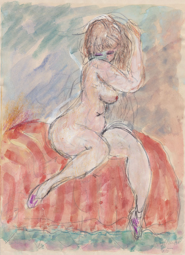 Oscar Barblan, Nudino, Water-colour on paper, 28 x 20 cm, 1945