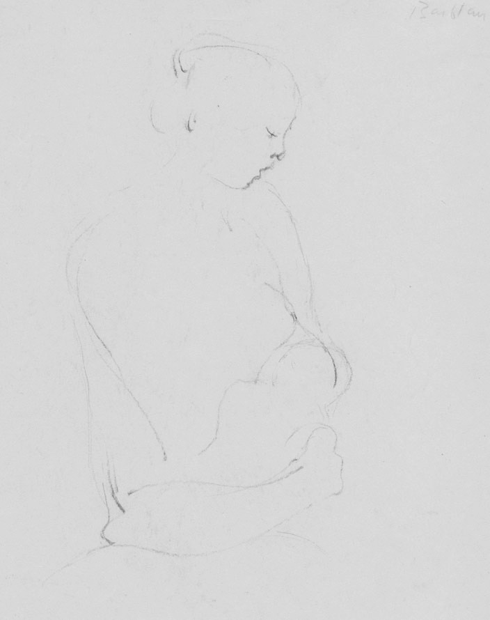 Oscar Barblan, Maternità,  Drawing pencil on paper, 24 x 18 cm, 1946