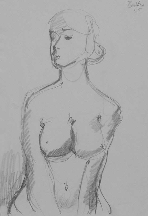 Oscar Barblan, Nudo di donna, Drawing pencil on paper, 30 x 21 cm, 1955