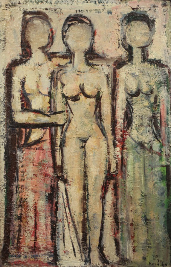 Oscar Barblan, Tre donne, Oil on cardboard,   45 x 30 cm, ca. 1950-55