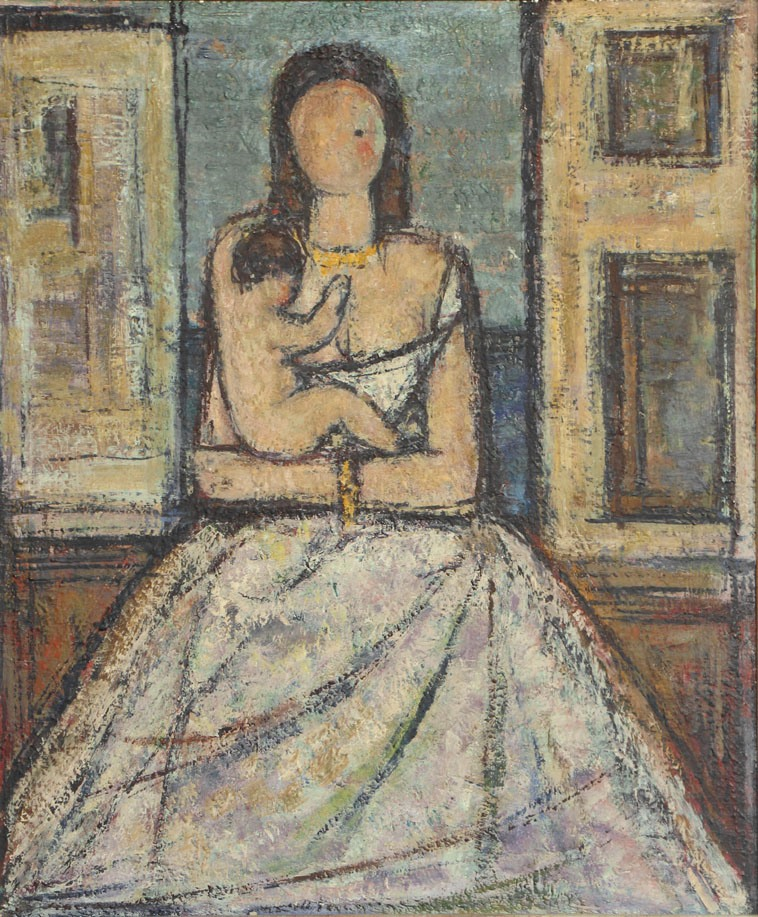 Oscar Barblan, Maternità, Oil on pavatex, 60 x 50 cm, ca. 1955