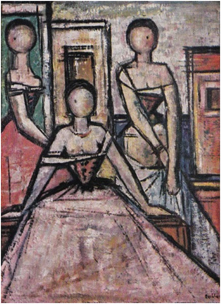 Oscar Barblan, Le tre grazie, Oil on canvas (Photo), ca. 1956