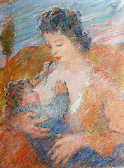 "Oscar Barblan, Mother and child, Oil on canvas (Photo), 1935, (Copyright by ""artvalue.com"")"