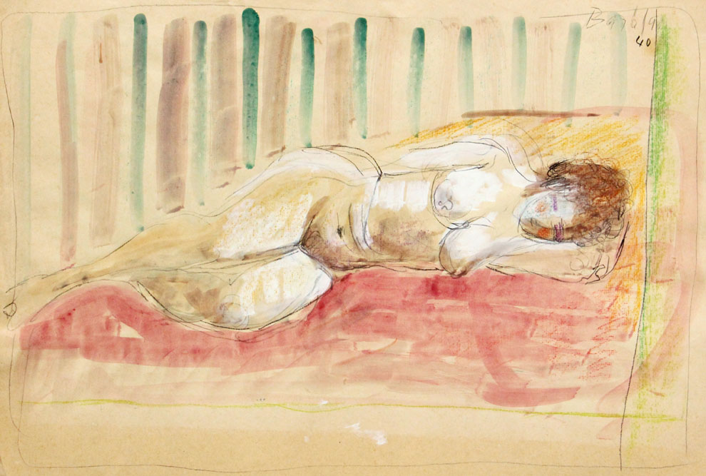 Oscar Barblan, Nudo che dorme, Water-colour on paper, 43 x 61 cm, 1940