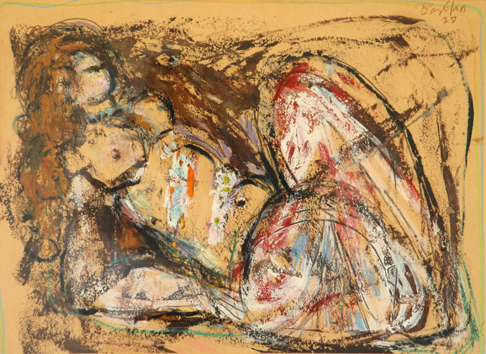 Oscar Barblan, Nudo disteso, Mixed technique on paper, 45 x 61 cm, 1978