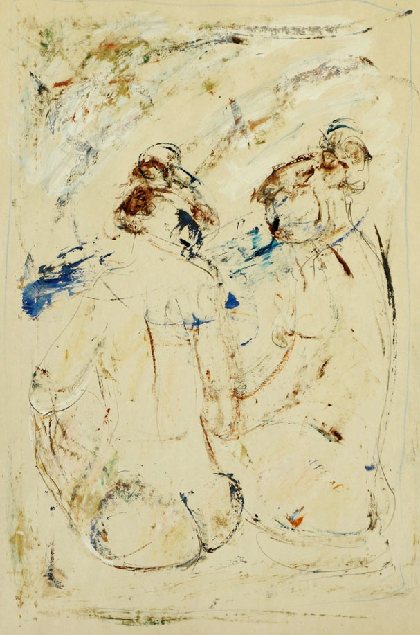 Oscar Barblan, Confidenze, Mixed  technique on paper, 62 x 43 cm, 1982