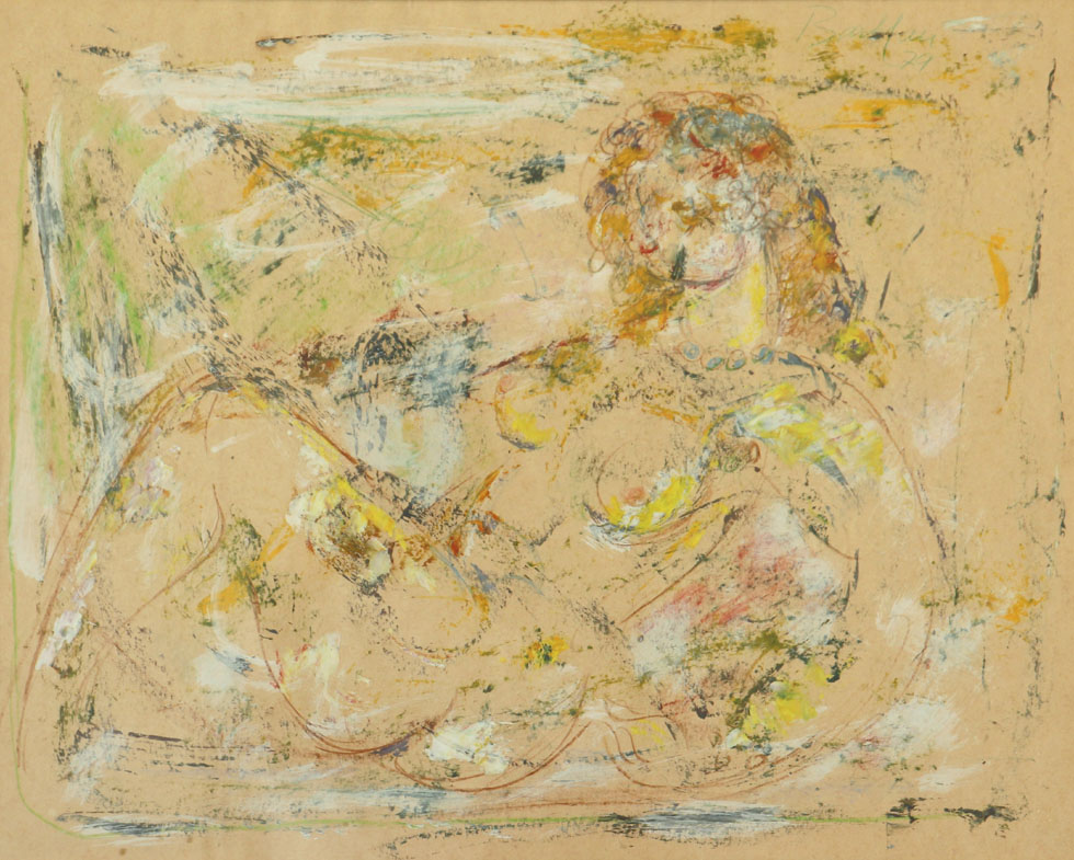 Oscar Barblan, Nudino disteso, Mixed technique on paper, 48 x 59 cm, 1979