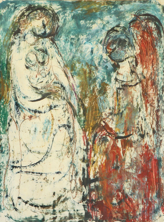 Oscar Barblan, Annunciazione, Mixed technique on paper, 44 x 33 cm, 1979