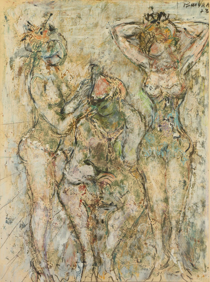 Oscar Barblan, Pagliaccio e ballerine, Mixed technique on paper, 67 x 50 cm, 1973