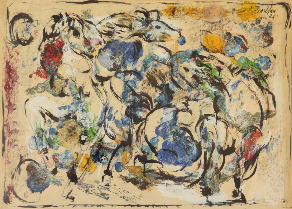 Oscar Barblan, Composizione con cavalli, Mixed technique on paper, 48 x 68 cm, 1974