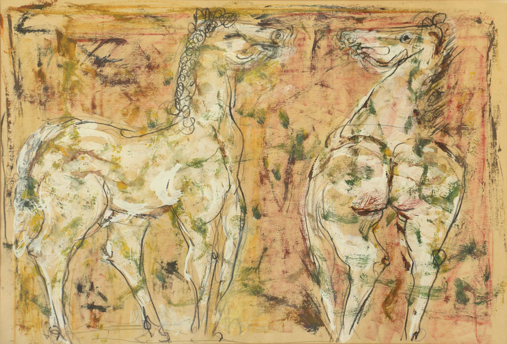 Oscar Barblan, Cavalli, Mixed technique on paper, 48 x 68 cm, 1977
