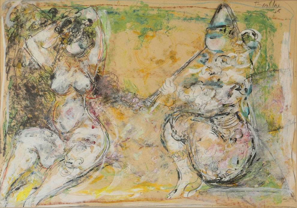 Oscar Barblan, Serenata, Mixed technique on paper, 48 x 68 cm, 1975