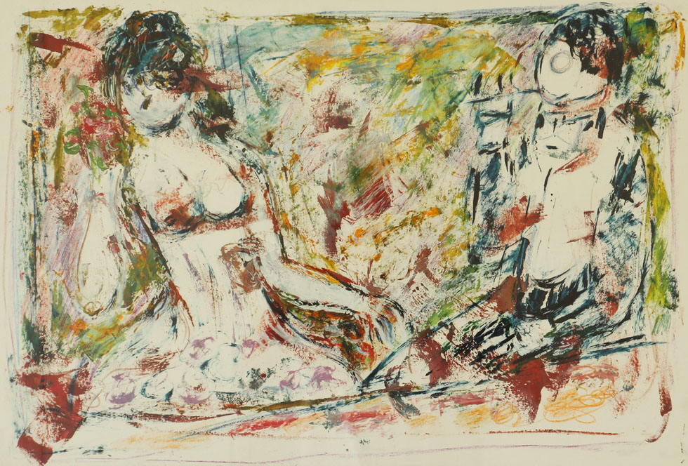 Oscar Barblan, Il monocolo, Mixed technique on paper, 44 x 66 cm, 1977