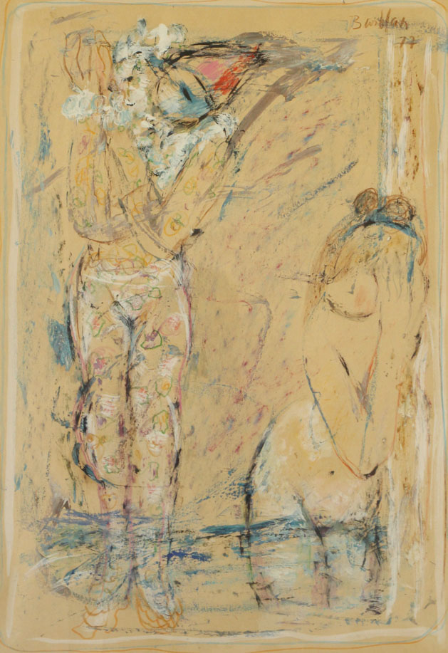 Oscar Barblan, Seduzione, Mixed technique    on paper, 52 x 45 cm, 1977