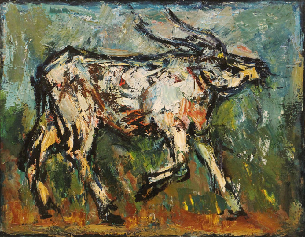 Oscar Barblan, Bove, Oil on canvas, 54 x 69 cm, 1975