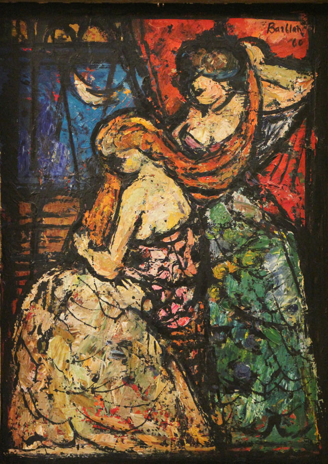 Oscar Barblan, Pettinatrice, Oil on wood, 65 x 47 cm, 1960
