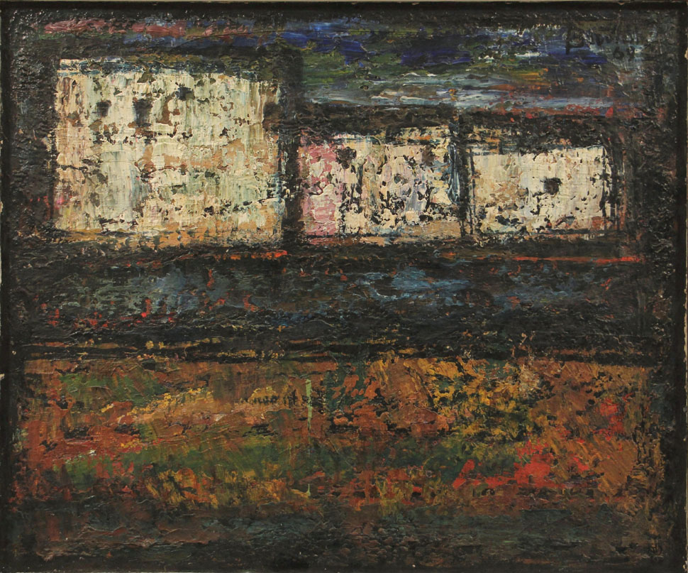 Oscar Barblan, Case bianche, Oil on canvas, 50 x 60 cm, 1964