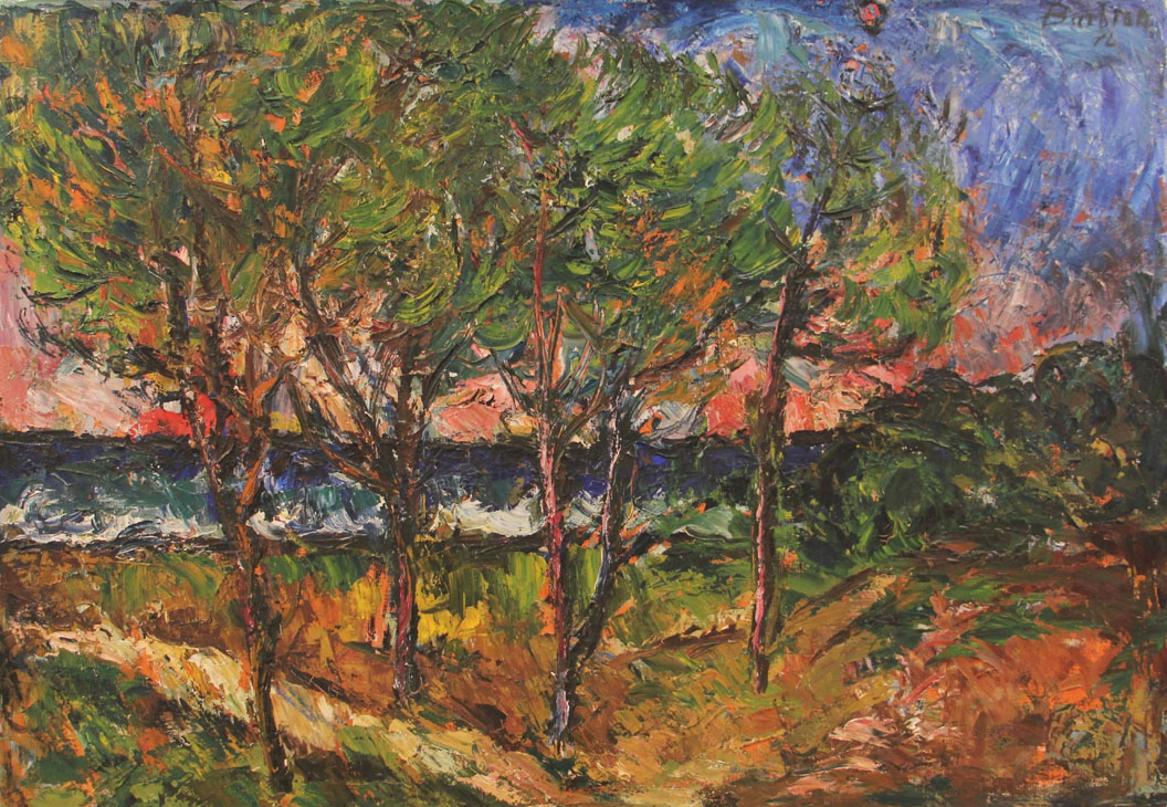 Oscar Barblan, Grande pineta, Oil on canvas, 70 x 100 cm, 1975