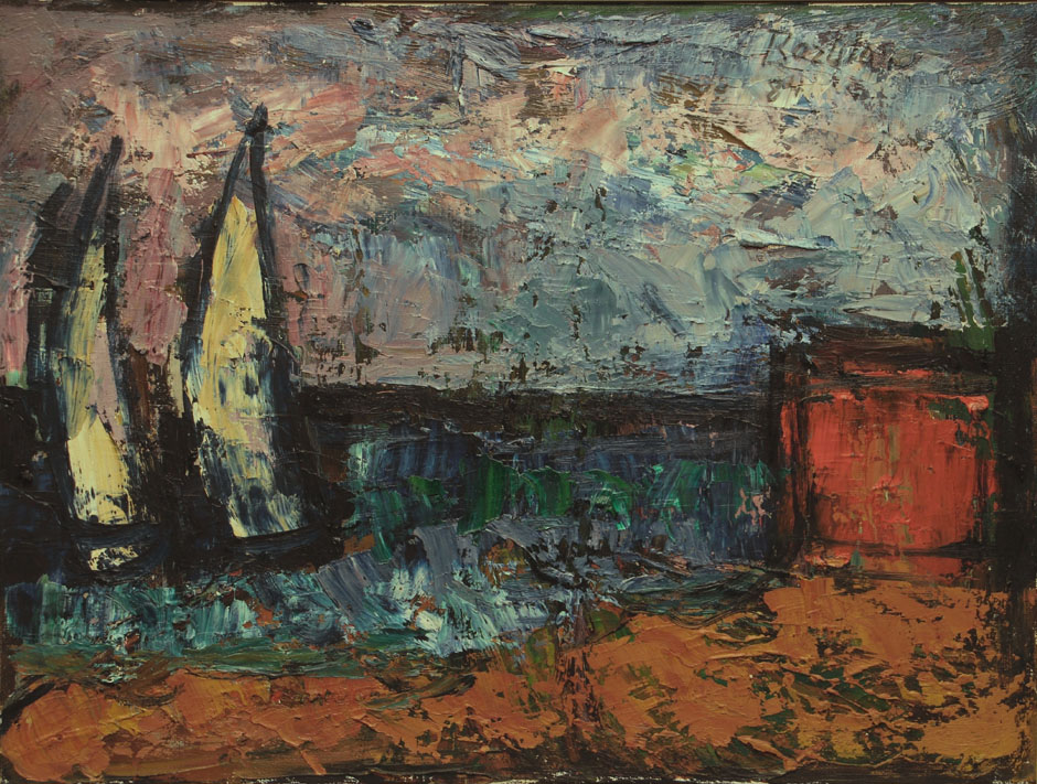 Oscar Barblan, Due barche a spiaggia, Oil on canvas, 30 x 40 cm, 1984