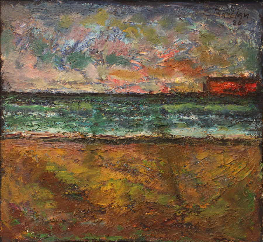 Oscar Barblan, Porticciolo, Oil on canvas, 46 x 50 cm, 1980
