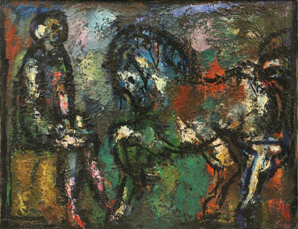 Oscar Barblan, Pagliaccio con cavallo, Oil on canvas, 54 x 69 cm, 1970
