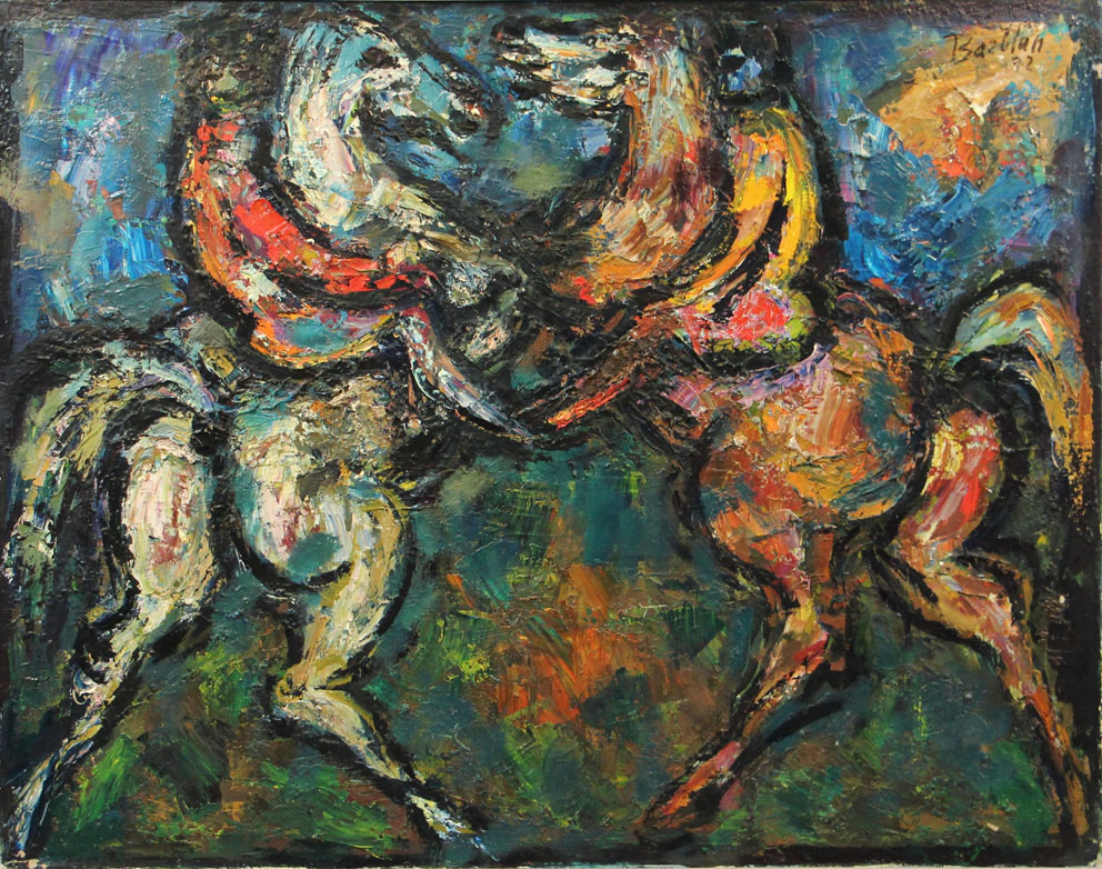Oscar Barblan, Torneo, Oil on canvas, 54 x 69 cm, 1972