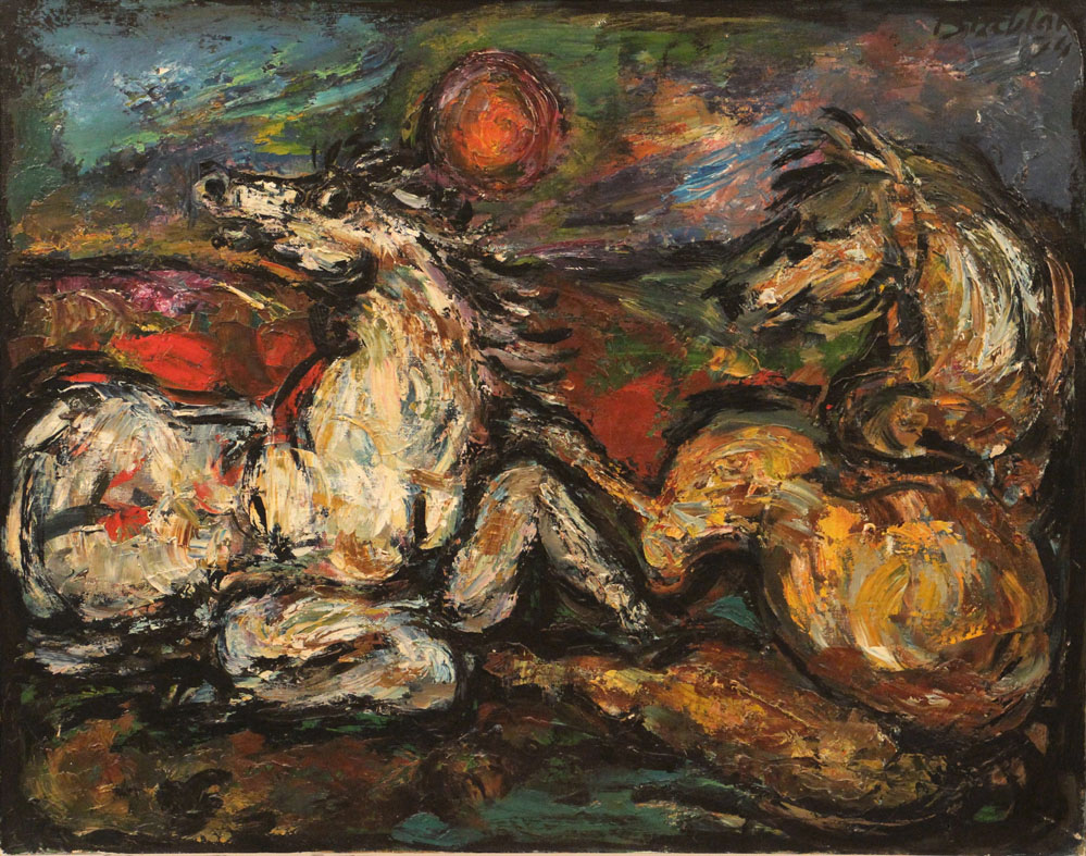 Oscar Barblan, Apocalisse, Oil on canvas, 54 x 69 cm, 1974