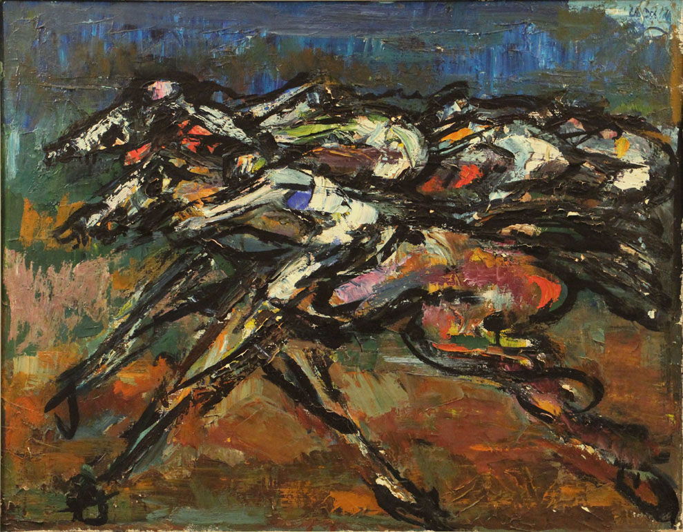 Oscar Barblan, Corsa di cavalli, Oil on canvas, 54 x 69 cm, 1975