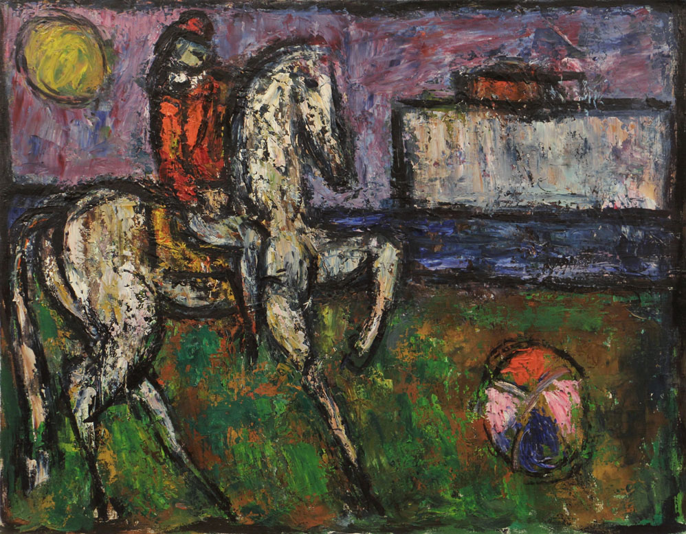 Oscar Barblan, Cavaliere e palla, Oil on canvas, 54 x 69 cm, 1984