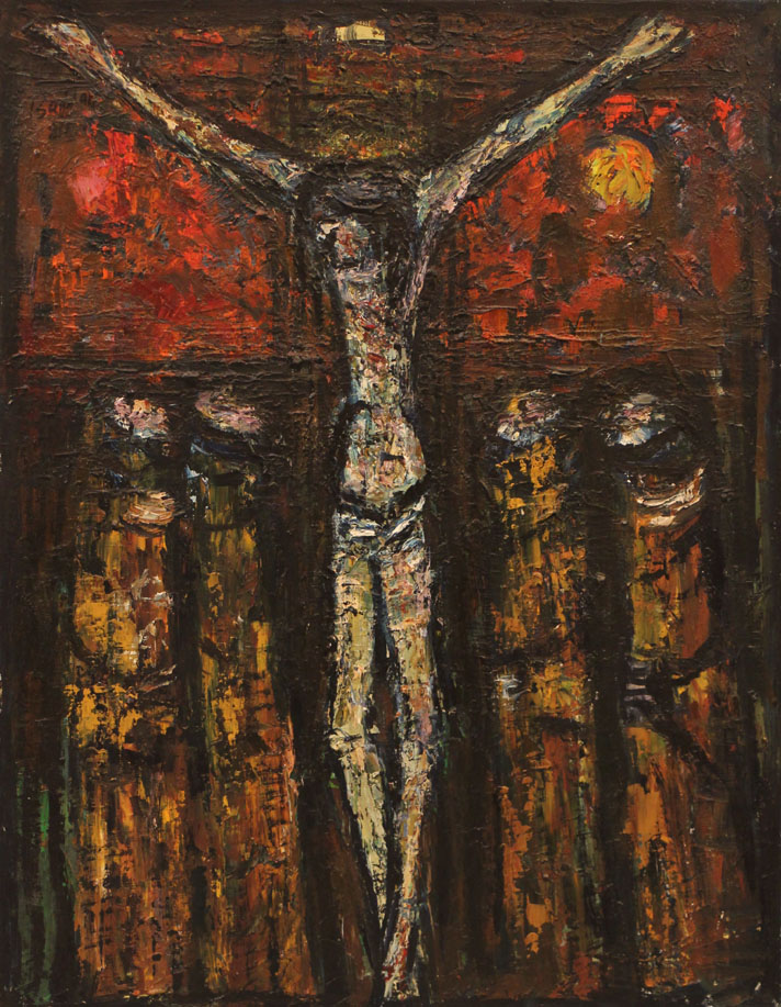 Oscar Barblan, Crocifissione, Oil on canvas, 69 x 54 cm, 1980