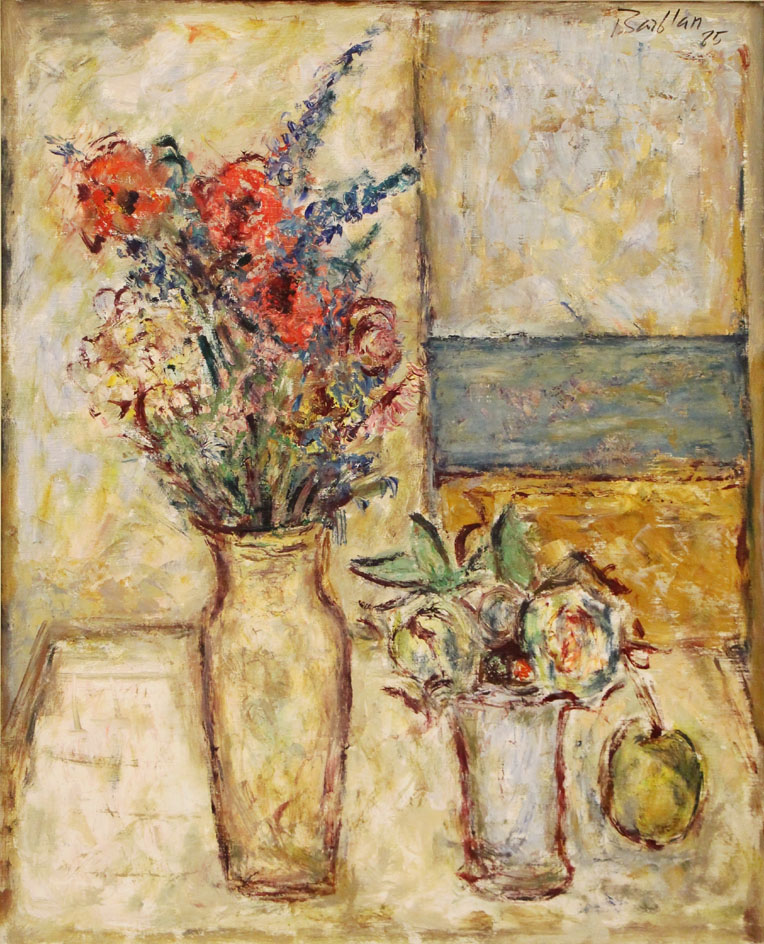 Oscar Barblan, Fiori, Oil on canvas, 80 x 65 cm, 1985