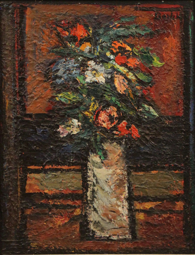 Oscar Barblan, Piccolo vaso di fiori, Oil on pavatex, 60 x 40 cm, 1961