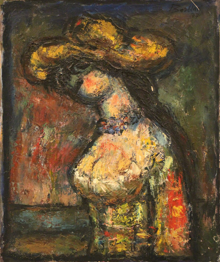 Oscar Barblan, Busto con cappello giallo, Oil on canvas, 60 x 50 cm, 1977