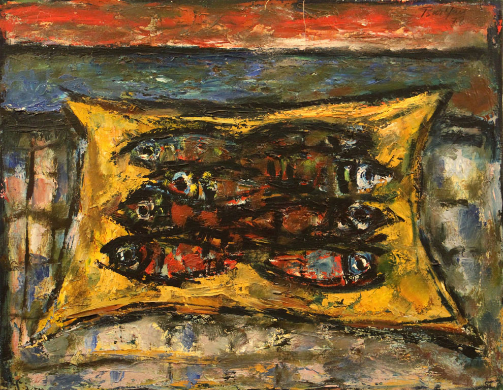Oscar Barblan, Pesci, Oil on canvas, 54 x 69 cm, 1978