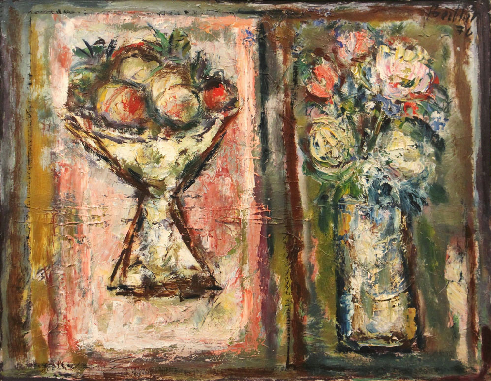 Oscar Barblan, Fiori e frutta, Oil on canvas, 54 x 69 cm, 1976