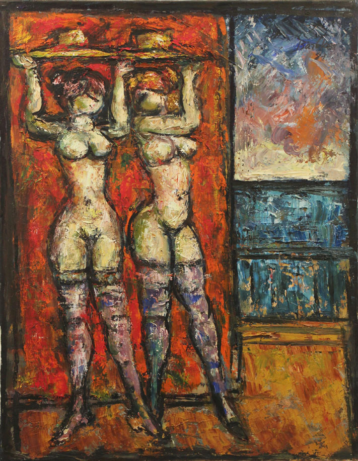 Oscar Barblan, Dans les coulisses, Oil on canvas, 69 x 54 cm, 1981