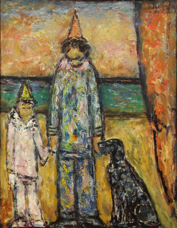 Oscar Barblan, Cane al circo, Oil on canvas, 69 x 54 cm, 1985