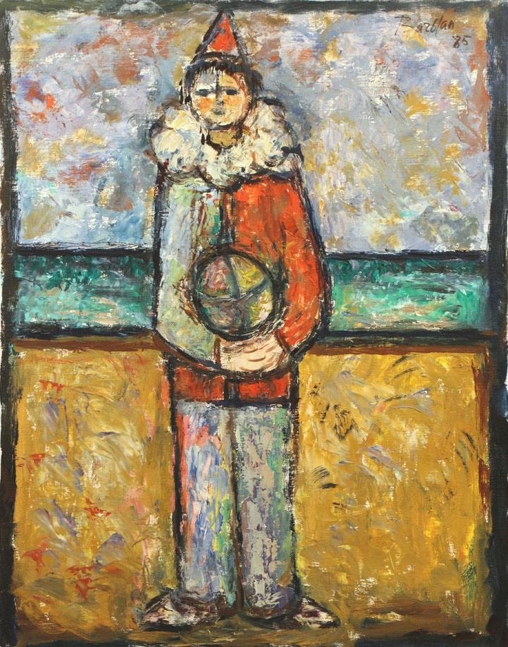 Oscar Barblan, Giovane pagliaccio, Oil on canvas, 69 x 54 cm, 1985